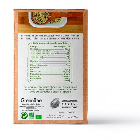 Hulled seeds of organic hemp - GreenBee 250g